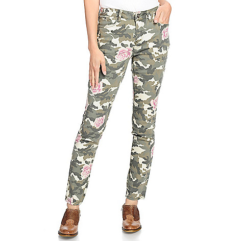 Indigo Thread Co.™, Woven 5 Pocket, Full Length Camo, & Rose Printed, Skinny Pants on sale at