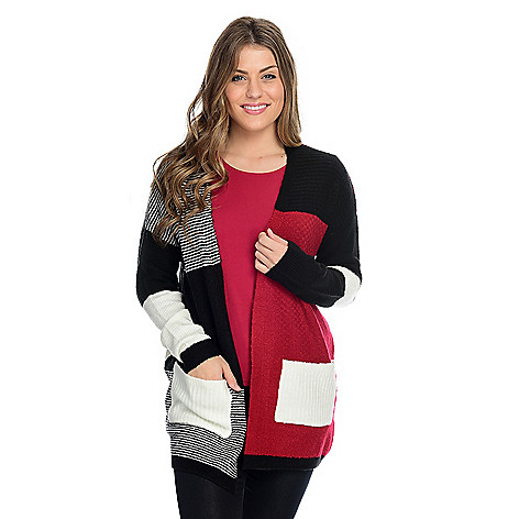 adcb56f9ad86b0 OSO Casuals® Textured Knit Bracelet Sleeve Open Front 2-Pocket Cardigan