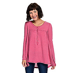 Indigo Thread Co.™ Waffle Knit Long Sleeve Raw Edge Seamed Hi-Lo Henley Top