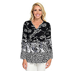 Tops - 738-991 Kate & Mallory® Printed Knit Long Bell Sleeve Notch Neck Tiered Top - 738-991