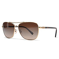 Coach 59mm Gold-tone & Faux Tortoiseshell Aviator Frame Sunglasses w/ Case