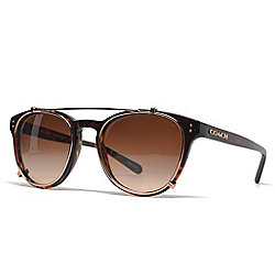a70b2e325e Coach 51mm Faux Tortoiseshell Aviator Frame Sunglasses w  Case - EVINE