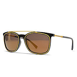 8475a27ee1 Versace 56mm Black   Yellow Brown Lens Aviator Frame Sunglasses w  Case