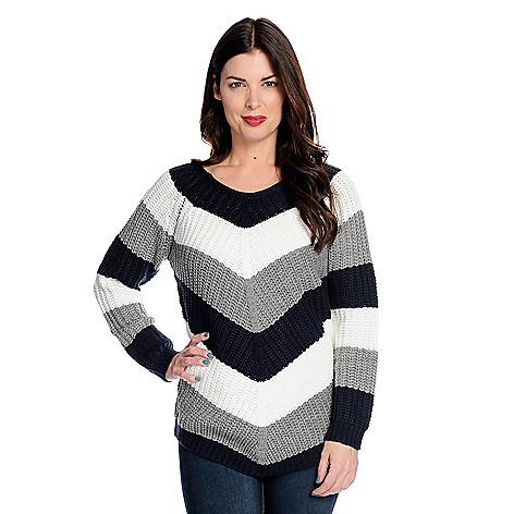 7a9e6cffc13c9b 739-201- OSO Casuals® Cable Knit Raglan Sleeve Color Block Chevron Sweater