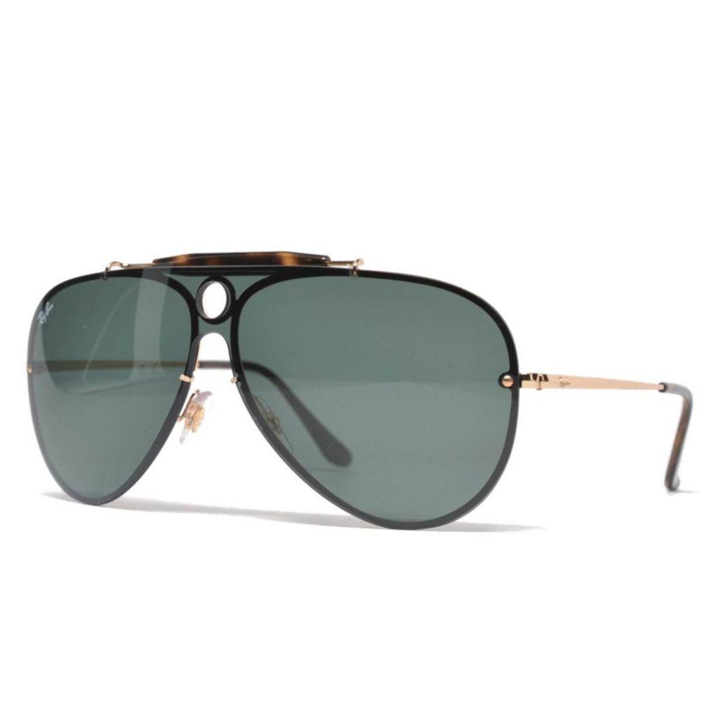 Ray Ban Men S 53mm Black Gold Tone Shield Frame Sunglasses W Case