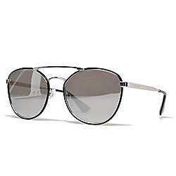 bff6f3dc16 Image of product 739-276. QUICKVIEW. Prada Unisex 55mm Black   Silver-tone  Aviator Frame Sunglasses w  Case