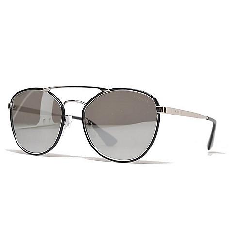 c669dcd80467c 739-276- Prada Unisex 55mm Black   Silver-tone Aviator Frame Sunglasses w