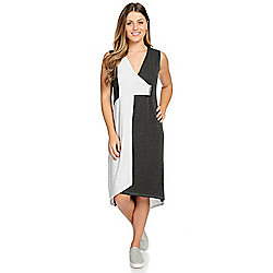 "Knithaus™ ""Adrianne"" Knit Sleeveless Asymmetrical Zipper Detailed Color Block Dress"