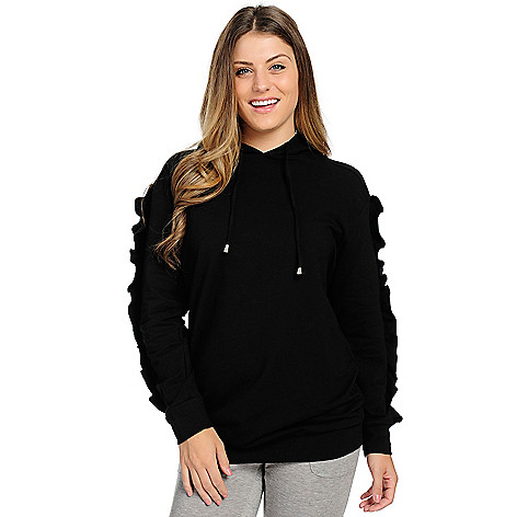 Knithaus&trade Stretch_Knit Long_Ruffle_Sleeve Hooded_Sweatshirt