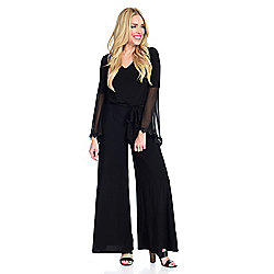 Kate & Mallory® Knit Long Chiffon Bell Sleeve V-Neck Back Zip Tie-Waist Wide Leg Jumpsuit