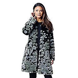 ccdd3be394a Donna Salyers' Fabulous-Furs Sculpted Floral Faux Fur 2-Pocket Hook Front  Coat