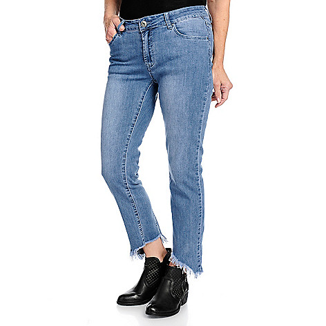 130141895171f4 Indigo Thread Co.™ Denim 5-Pocket Uneven Raw Edge Hem Godet Skinny ...