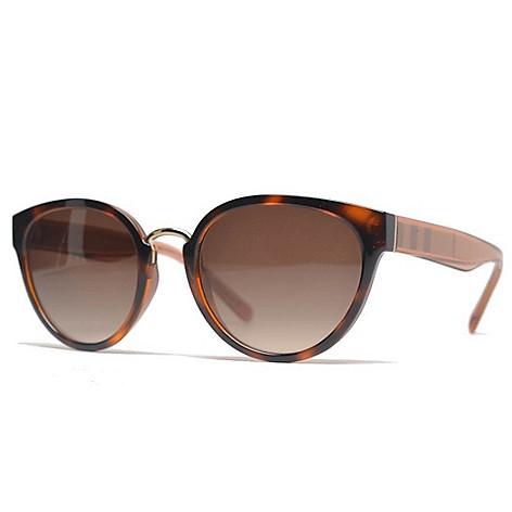 5531595ca2400 739-623- Burberry 53mm Havana Round Frame Sunglasses w  Case