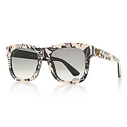 0df74cd4ac34 Gucci 54mm Round Frame Floral Design Sunglasses w  Case