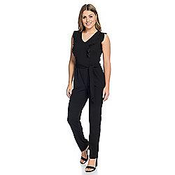 8822804d306 Kate   Mallory® Knit Sleeveless V-Neck Tie-Waist Ruffle Detailed Zip Back