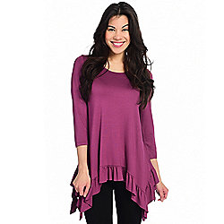 ad46c0d68f04f7 Image of product 739-832. QUICKVIEW. Kate   Mallory® Knit 3 4 Sleeve Scoop  Neck Sharkbite Ruffle Top