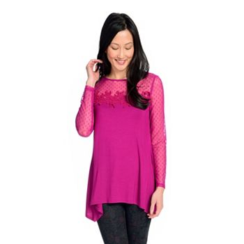 Tops Under $20 Stock up for All Seasons 739-917 Kate & Mallory® Knit & Swiss Dot Mesh Long Sleeve Crochet Detailed Sharkbite Top - 739-917