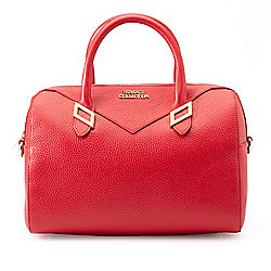 Top Handles - 739-958 Versace Collection Pebbled Leather Zip Top Barrel Satchel w Removable Strap - 739-958