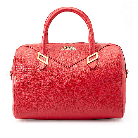 739-958- Versace Collection Pebbled Leather Zip Top Barrel Satchel w   Removable Strap c6f0b24aa2e17