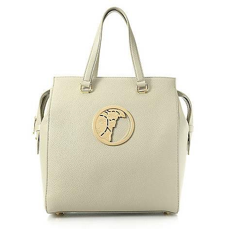 a5715b94660d 739-960- Versace Collection Pebbled Leather Medusa Medallion Top Handle Bag