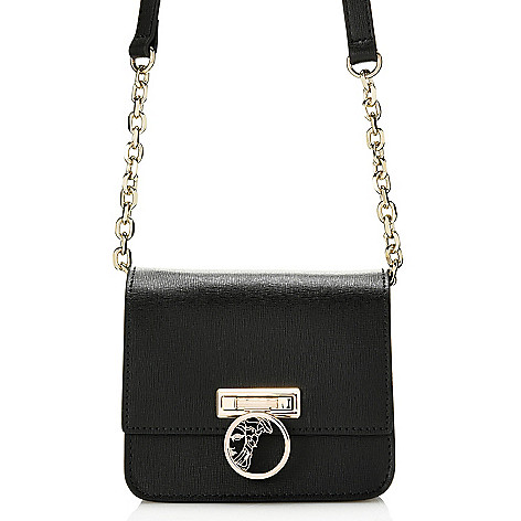 142758d145f 739-963- Versace Collection Saffiano Leather Flap-over Chain Detailed Mini  Crossbody Bag