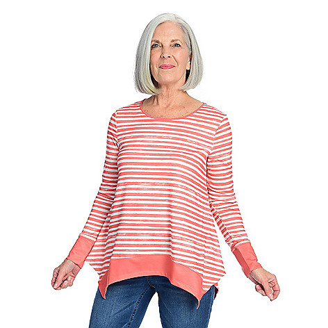 6ae824b7d One World Sweater Knit Long Sleeve Handkerchief Hem Striped Top - EVINE