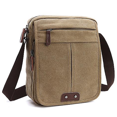 1c275f37f941e 740-096- Dasein Canvas Vintage-Style Flap-over Crossbody Messenger Bag