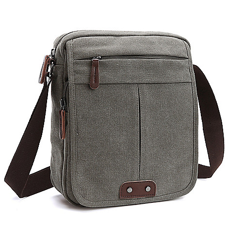 757eedb54e89c 740-097- Dasein Vintage-Style Small Canvas Messenger Bag w  Front Flap