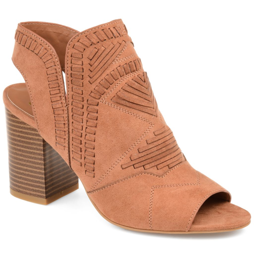 Journee Collection Crosby Faux Suede Woven Detailed Peep Toe Ankle Boots - 740-178