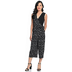 Kate & Mallory® Mixed Print Knit Sleeveless Surplice Neck Tie-Waist Jumpsuit