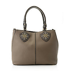 Madi Studio Collection - 740-251 Madi Studio by Madi Claire Natalie Zip Top Studded Satchel w Removable Strap - 740-251