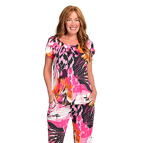 983263d782f972 740-283- Kate   Mallory® Stretch Knit Short Tulip Sleeve Zipper Detailed Hi