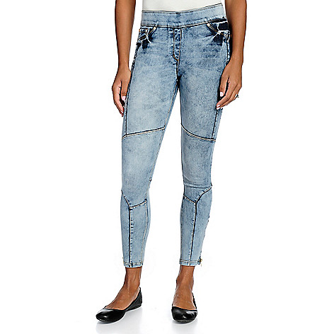 ec56471276cc8 740-324- Nygård Slims Stretch Denim Elastic Waist Zipper Detailed Moto  Jeggings