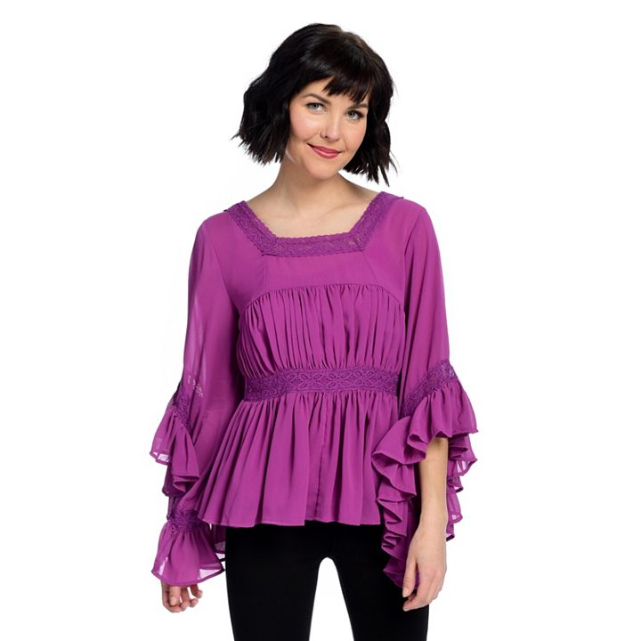 Shop Once Onlys at ShopHQ - 740-379 Marc Bouwer Chiffon 34 Sleeve Square Neck Ruffled Top & Knit Tank Set