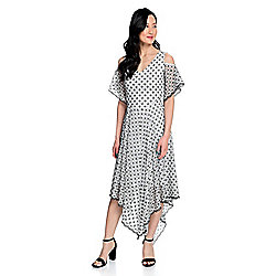870018e841e9a Marc Bouwer Patterned Mesh Flutter Sleeve Cold Shoulder Knit Lined Dress