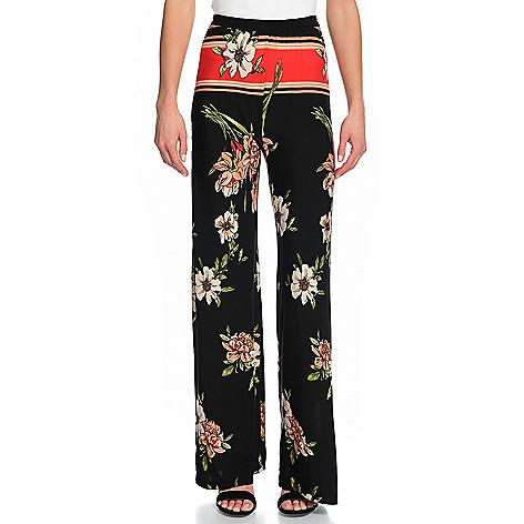 076123f5ead3b 740-397- Marc Bouwer Printed Knit Elastic Waist Wide Leg Pull-on Pants