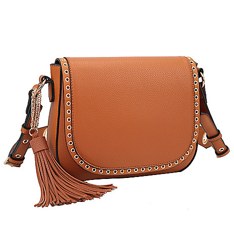 6533a25a35cd 740-567- Dasein Faux Leather Grommet Detailed Messenger Bag w  Decorative  Tassel