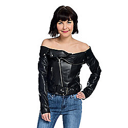 mōd x Faux Leather Off-the-Shoulder Asymmetrical Zip Belted Moto Jacket
