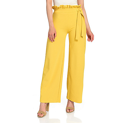 e4805b3ea4 740-620- Marc Bouwer Knit Ruffled Elastic Waist Tie Detailed Wide Leg Pants