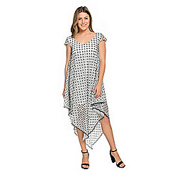 Marc Bouwer Patterned Mesh Cap Sleeve V-Neck Asymmetrical Hem Knit Lined Dress