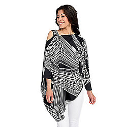 Marc Bouwer Printed Knit 3/4 Dolman Sleeve One-Shoulder Asymmetrical Top