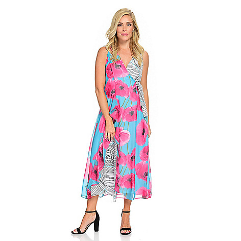 ddd5a8020 740-717- Kate   Mallory® Mixed Print Woven Sleeveless Faux Wrap Ruffled Maxi