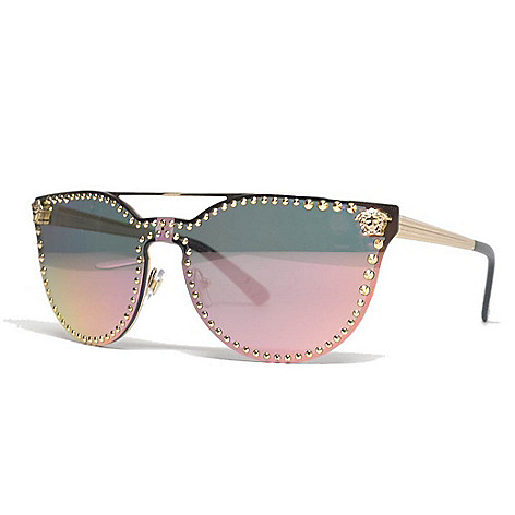 1d0fe7909e143 740-832- Versace 45mm Gold-tone Cat Eye Frame Sunglasses w  Case