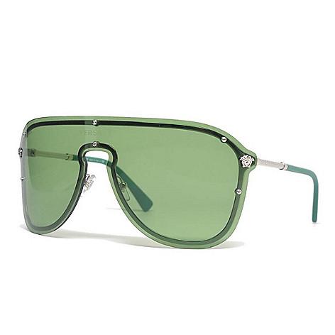 9288a8eb62f Versace 44mm Silver-tone   Green Mask Frame Sunglasses w  Case - EVINE