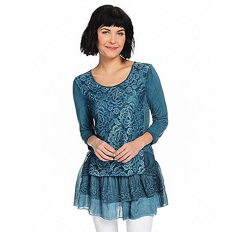546f8d84dea Indigo Thread Co.™, Mixed Media, 3/4 Sleeve, Layered Peplum Hem,  Embroidered Top