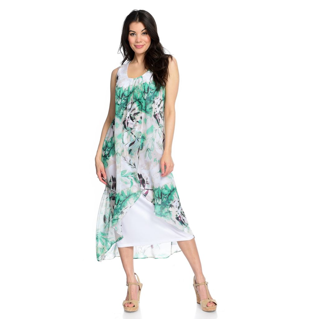 Kate & Mallory® Printed Chiffon Maxi Dress with Lining - 740-948