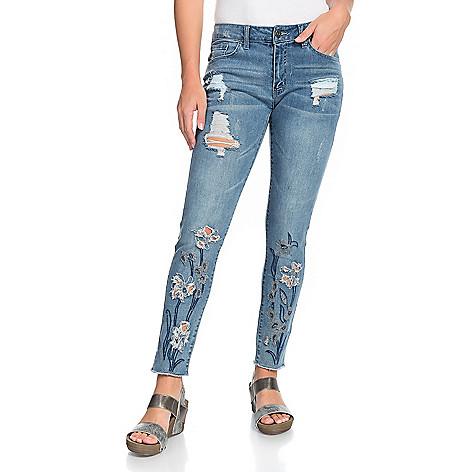 5fcfbe1c28 Indigo Thread Co.™, Denim 5-Pocket, Embroidered &, Distressed, Skinny Jeans