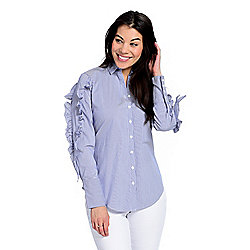 15746e6f98e mōd x Striped Woven Long Sleeve Ruffled Lace-up Back Shirt
