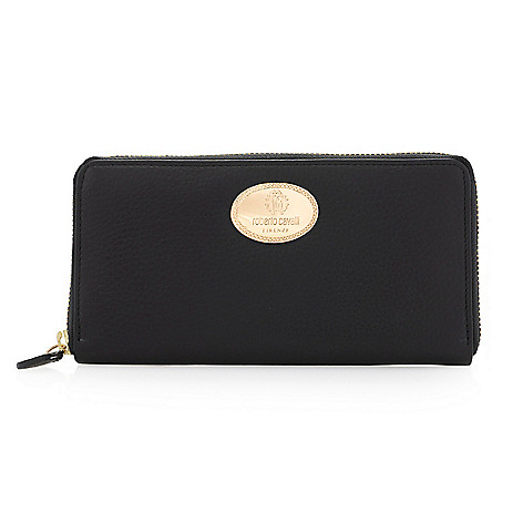 Roberto_Cavalli Leather Zip_Around Wallet