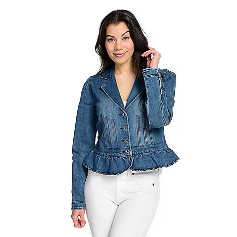 Kate & Mallory®, Twill Notch Collar, Seam Detailed, Button Front, Ruffled  Hem Jacket